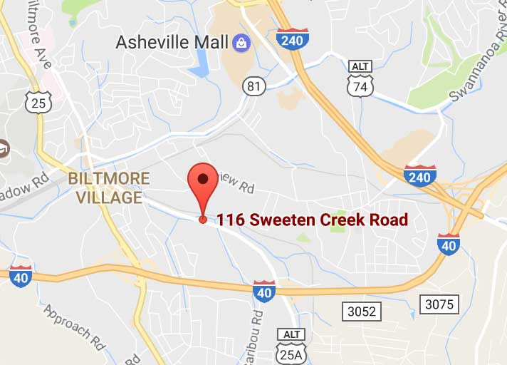 Google Map of 116 Sweeten Creek Rd Asheville, North Carolina
